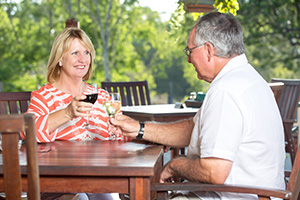 Couple enjoying a wine