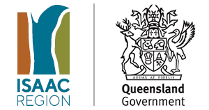 Government logo and Isaac Regional Council logo
