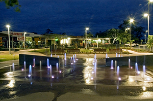 Moranbah Town Square at night