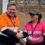 Adani chief executive lucas dow and mayor anne baker at the opening of the rugby run solar farm on 31 oct 2019 web tn