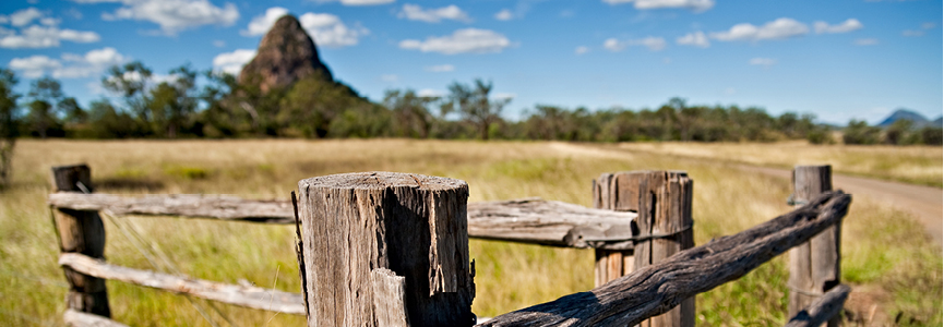 Fence posts in field with hill in the background