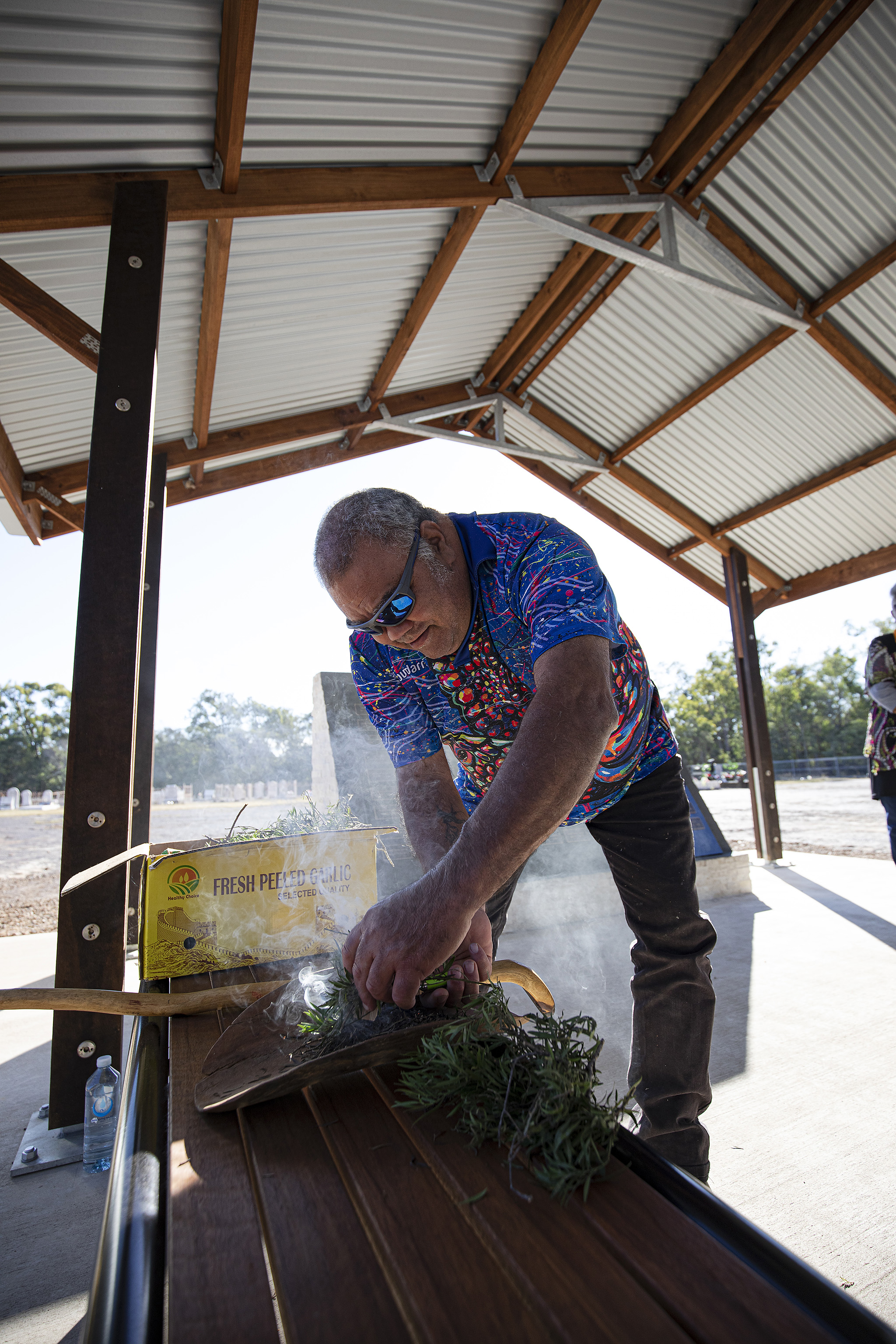 Steven kemp completed the smoking ceremony on behalf of the koinjmal people