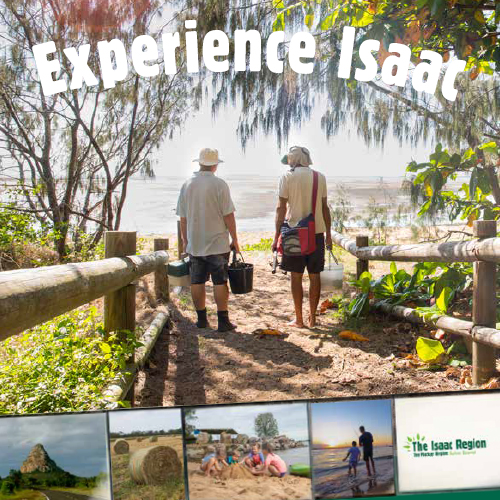 Front of Tourism booklet with couple walking towards beach with text 'Experience Isaac'