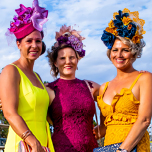 Vanessa cafferky chrissy kimber and mel clothier at last year s spring racing carnival at treasure park moranbah race club web tn